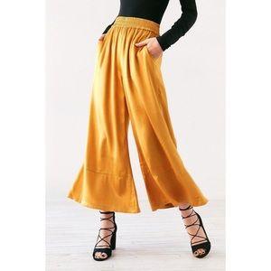 {SILENCE + NOISE} Metallic Mustard Yellow Pants